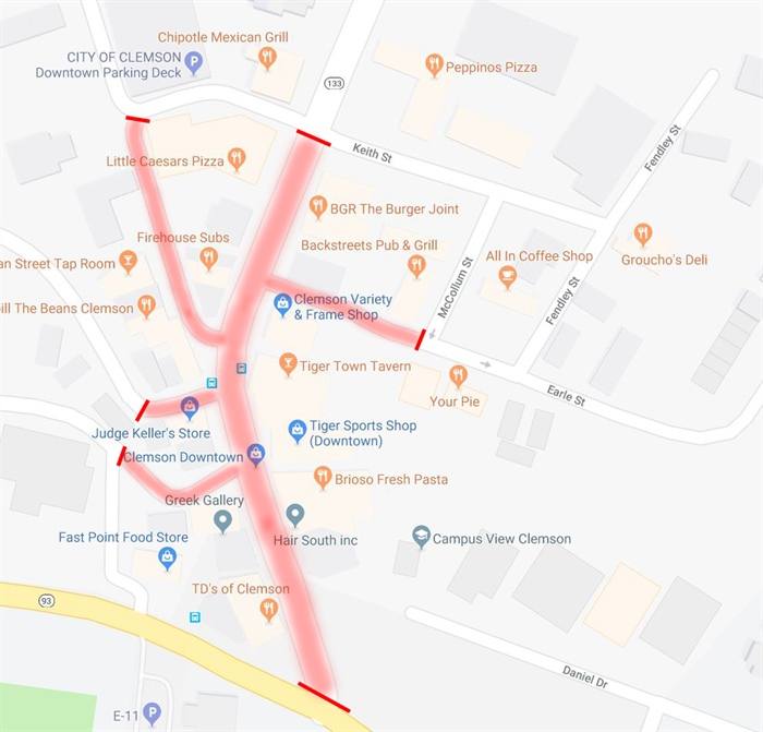 Gameday Road Closures